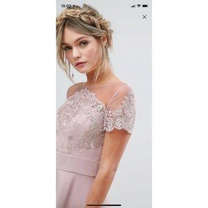 Lace Embroidered Lace Satin Midi Dress